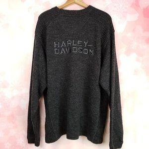 Harley Davidson Men's XL Solid Gray Wool Sweater
